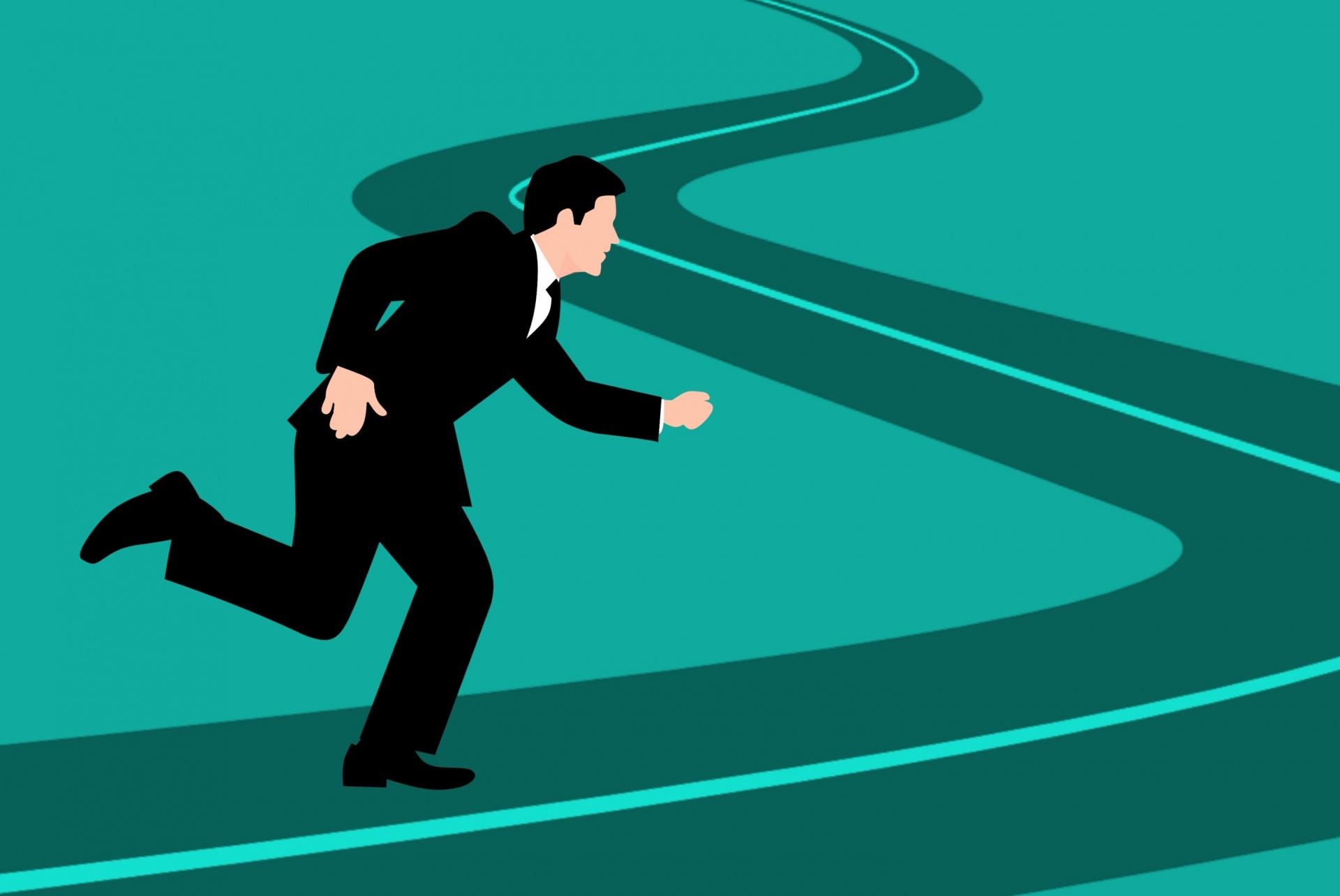 Animatie Man Aan Begin Van Een Kronkelende Weg